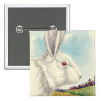 Easter Bunny White Albino Field Button