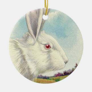 Easter Bunny White Albino Field Ceramic Ornament