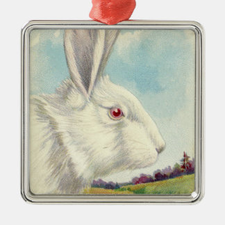 Easter Bunny White Albino Field Metal Ornament