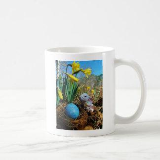Easter Bunny /  white Rabbit , blue egg Coffee Mug