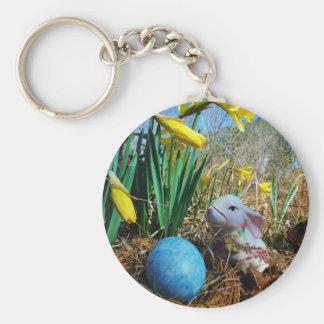 Easter Bunny /  white Rabbit , blue egg Keychain