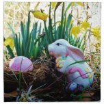 Easter Bunny with a pink egg Printed Napkins