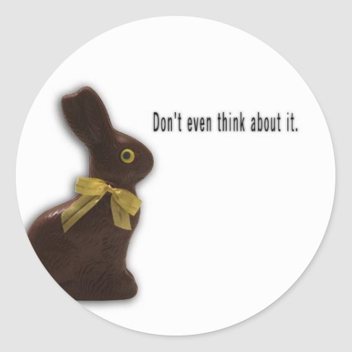 EASTER BUNNY WITH ATTITUDE TEMPLATE CLASSIC ROUND STICKER