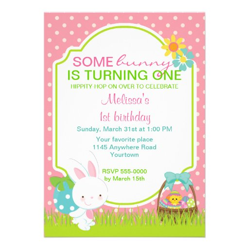 easter bunny with basket birthday invitation zazzle
