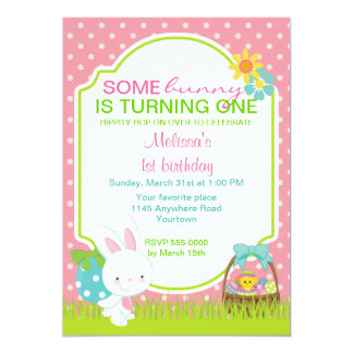 "Easter Bunny with Basket Birthday Invitation 5"" X 7"" Invitation Card"