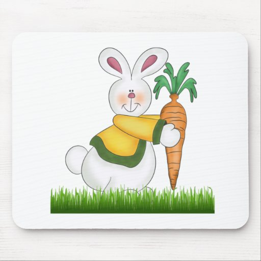 Easter Bunny With Carrot Mousepad