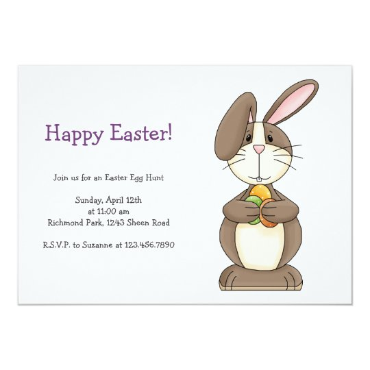 Easter Bunny with Colored Eggs Card