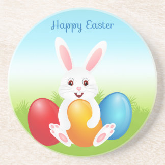Easter Bunny with Colorful Easter Eggs Drink Coaster