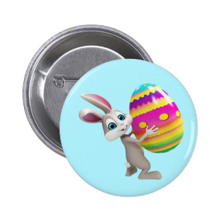 Easter Bunny with colorful egg Button