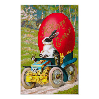 Easter Bunny With Cool Car Print
