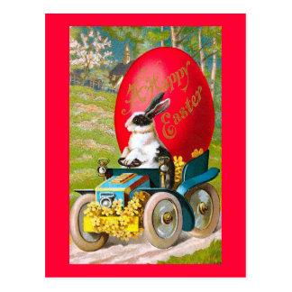 Easter Bunny With Cool Car Vintage Floral Postcard