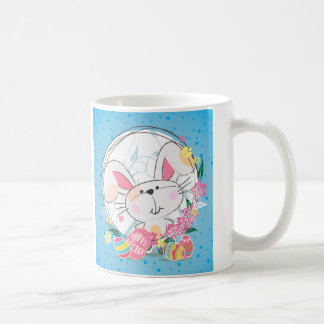 Easter Bunny with Decorated eggs and Spring Flower Coffee Mug