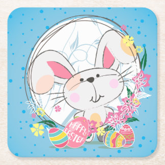 Easter Bunny with Decorated eggs and Spring Flower Square Paper Coaster