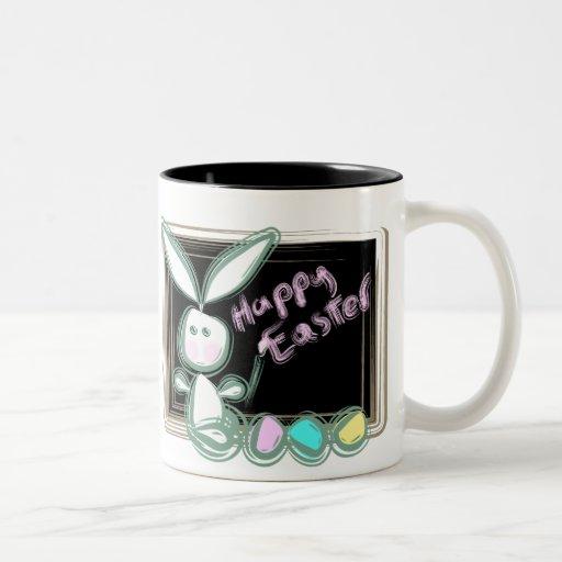 Easter Bunny With Eggs And Blackboard Two-Tone Coffee Mug