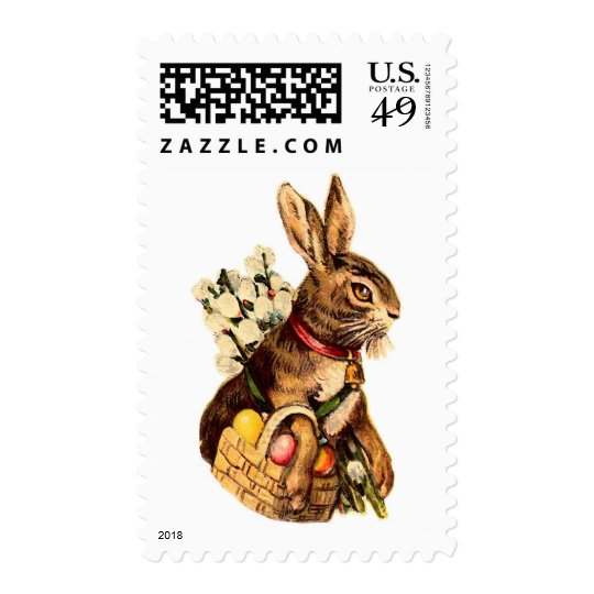 Easter Bunny With Eggs and Flowers Postage