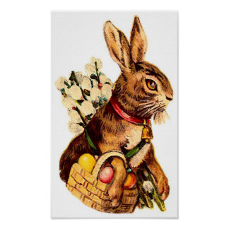 Easter Bunny With Eggs and Puss Willows Posters