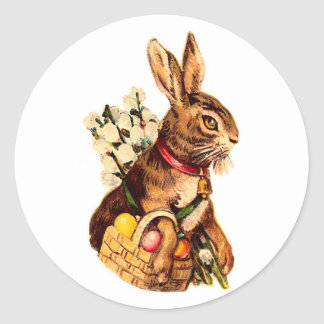 Easter Bunny With Eggs and Puss Willows Round Stickers