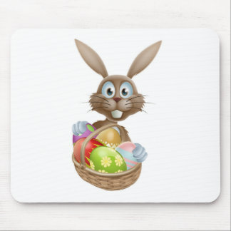 Easter bunny with eggs basket mouse mats
