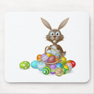 Easter bunny with eggs basket mousepad
