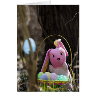 Easter Bunny with Eggs & Easter Basket Card