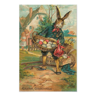 Easter Bunny With Eggs For Children Vintage Poster