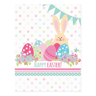 Easter Bunny with eggs greeting Postcard