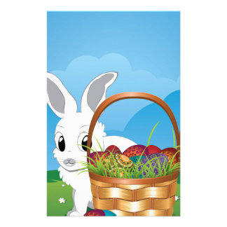 Easter Bunny with Eggs in the Basket 4 Stationery