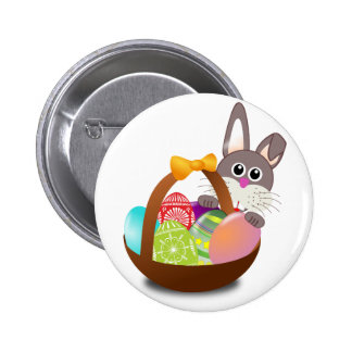 easter bunny with eggs pinback button