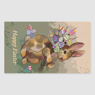 Easter bunny with eggs rectangular sticker