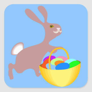 Easter Bunny with Eggs Square Sticker