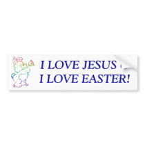 Easter Bunny with flowers Bumper Sticker