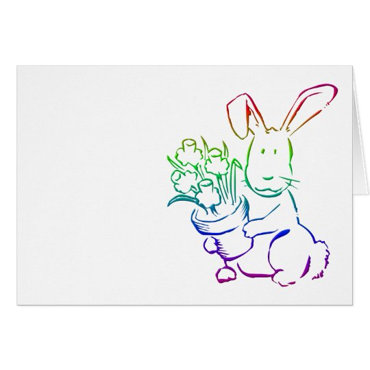 Easter Bunny with flowers Card
