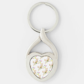 Easter Bunny with flowers cartoon Keychain