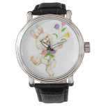 Easter Bunny with flowers cartoon Wrist Watch
