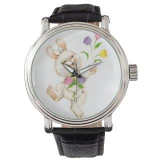 Easter Bunny with flowers cartoon Wrist Watch