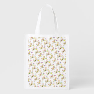 Easter Bunny with flowers cartoon Reusable Grocery Bags
