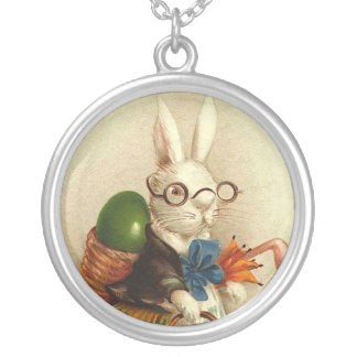 Easter Bunny with Glasses Silver Plated Necklace