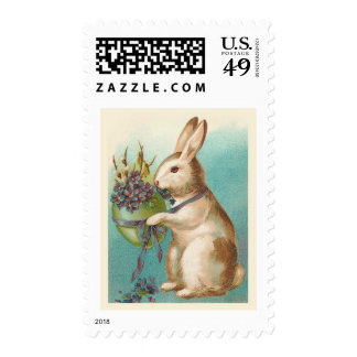 Easter Bunny With Green Egg Stamp