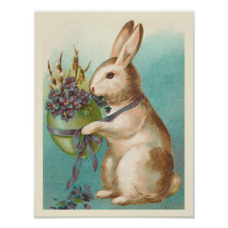 Easter Bunny With Green Egg Posters