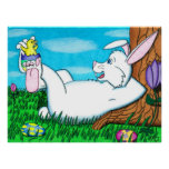 Easter Bunny with Happy Feet Poster