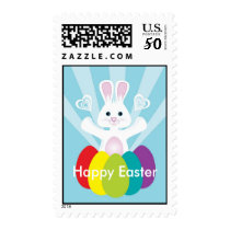 Easter Bunny with Rainbow Eggs, Happy Easter Postage