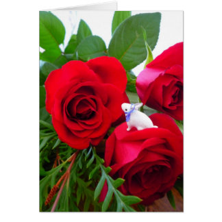 Easter bunny with red roses - card