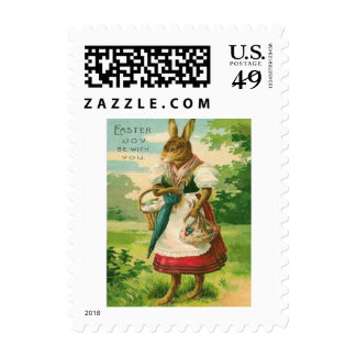 Easter Bunny Woman Basket Colored Egg Postage