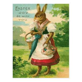 Easter Bunny Woman Basket Colored Egg Postcard