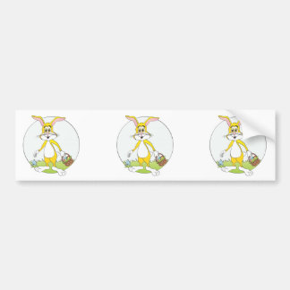 Easter Bunny Yellow Rabbit Cartoon Bumper Sticker