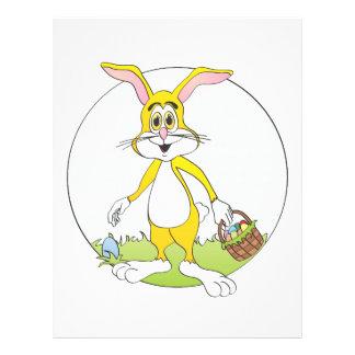 Easter Bunny Yellow Rabbit Cartoon Letterhead Template