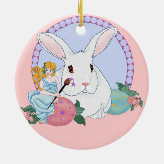 Easter Bunny's Helper Double-Sided Ceramic Round Christmas Ornament