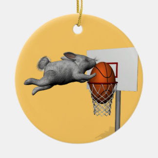 Easter Bunny's Perfect Slam Dunk Ceramic Ornament