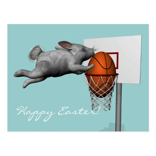 Easter Bunny's Perfect Slam Dunk Postcard