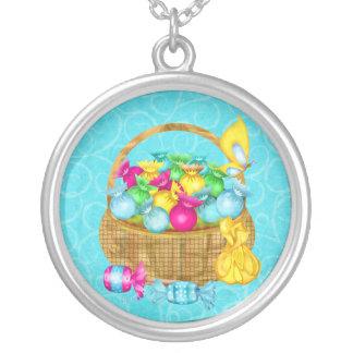 Easter Candy Folk Art GIRLS BASKET STUFFER Silver Plated Necklace